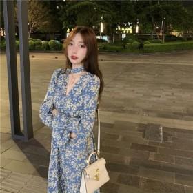 韩版气质宽松女百搭中长款长袖碎花连衣裙