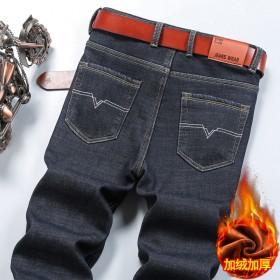 男冬季加厚保暖宽松直筒大码男士弹性修身加绒牛仔裤