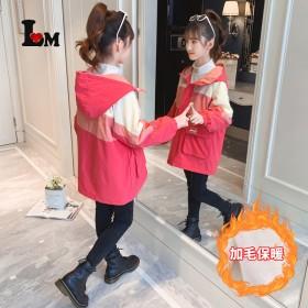 女童加绒加厚派克服2021冬季新款三色拼接韩版儿童
