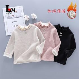 女童加绒毛衣2021冬季新款套头长袖女宝宝圆领韩版