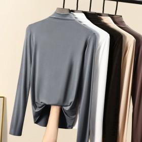 莫代尔长袖2021秋冬新款女装半高领打底衫内搭T恤