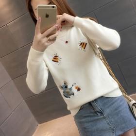 秋冬新款韩版修身刺绣短款花边领套头针织打底衫毛衣