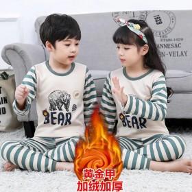 中大童加绒加厚保暖内衣套装秋衣秋裤儿童冬季男童女童