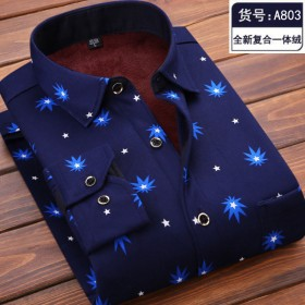 反季大码可选加绒衬衫秋冬季男士格子印花保暖衬衣