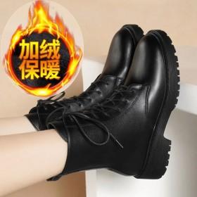 加绒加厚英伦风马丁靴真皮女短靴