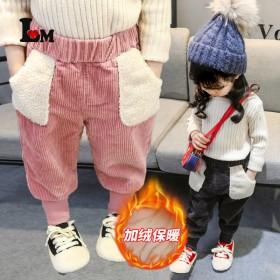 女童灯芯绒裤子加绒加厚2021冬季新款韩版儿童休闲