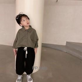 男童韩版长袖衬衫春秋薄款纯棉衬衣儿童外穿宽松上衣潮