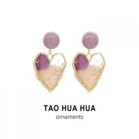 淘花花纯银针耳钉金箔紫色滴胶爱心耳环好品质时尚饰品