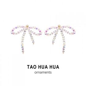 淘花花水晶编织耳环小众蝴蝶结耳钉925银针时尚饰品