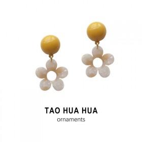 淘花花黄色太阳花耳钉耳环甜美泫雅风925银针好品质