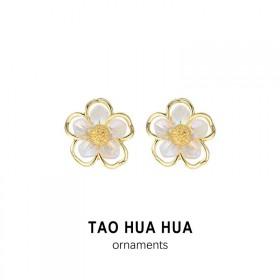 淘花花超仙极光彩色花朵耳钉好品质925银针时尚饰品