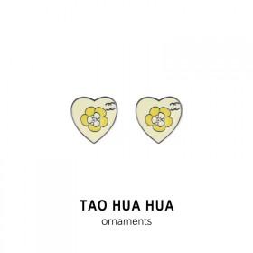 淘花花纯银针耳环滴油爱心花朵可爱气质耳钉时尚饰品