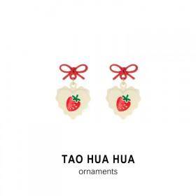 淘花花爱心红色草莓蝴蝶结耳钉好品质银针耳环时尚饰品