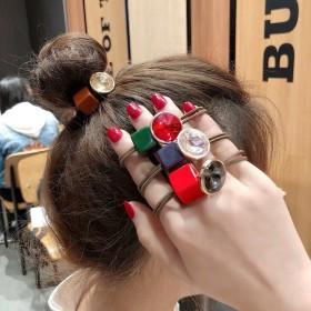 韩国网红彩色方块镶钻头绳手链两用女士个性扎马尾橡