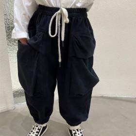 男童口袋工装裤秋装炸街长裤韩版宝宝休闲时髦束脚裤子