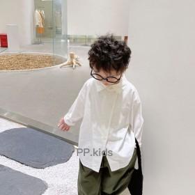 儿童秋季衬衫炸街韩版宽松衬衣纯棉T恤设计感斜扣上衣