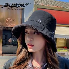 羊羔毛大檐渔夫帽网红韩版双面盆帽休闲保暖遮阳帽子女