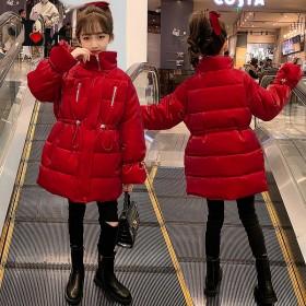 女童棉衣2021年冬季新款加绒加厚立领保暖外套新年