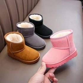 儿童雪地靴男女童2021冬季新款套脚短靴绒面棉鞋