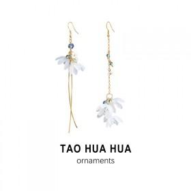 淘花花耳饰女好品质不对称花瓣耳环纯银针时尚饰品耳钉
