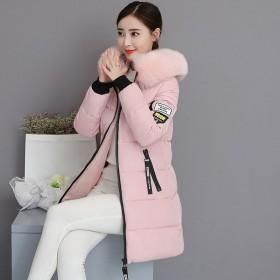 韩版棉服女大毛领外套修身显瘦棉衣中长款棉袄潮