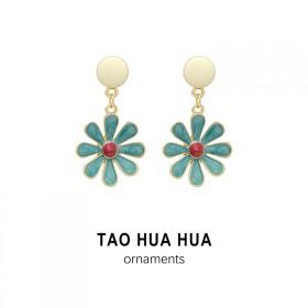 淘花花时尚饰品女滴釉小雏菊绿色花朵耳环纯银针好品质
