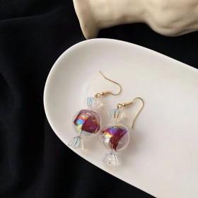 淘花花好品质甜美纱质夹心糖果玻璃气泡立体耳饰时尚