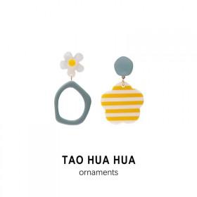 淘花花时尚耳饰纯银针好品质条纹雏菊花朵不对称耳环