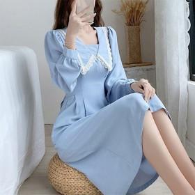 新款法式茶歇裙蓝色娃娃领连衣裙女秋冬收腰显瘦长袖