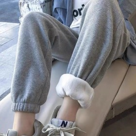 加绒灰色束脚运动裤子女宽松显瘦韩版