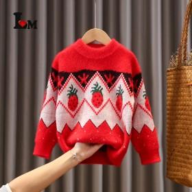 女童毛衣2021冬季新款套头洋气卡通圆领草莓针织衫