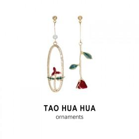 淘花花纯银针不过敏玫瑰花耳环珍珠耳钉时尚饰品好品质