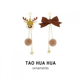 淘花花好品质纯银针时尚饰品秋冬麋鹿耳钉蝴蝶结耳环