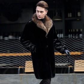 进口整貂男士貂皮大衣西装领水貂皮草中长款海宁裘皮冬