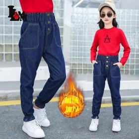 女童牛仔裤加绒加厚2021冬季新款加厚款长裤韩版中