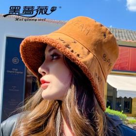 2021年新款秋冬羊羔绒双面渔夫帽女保暖盆帽时尚帽