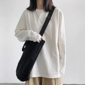 2021秋季韩版时尚百搭纯色长袖T恤女宽松打底衫