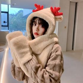 兔毛围巾帽子一体冬季加厚保暖韩版可爱绒毛小熊帽子女