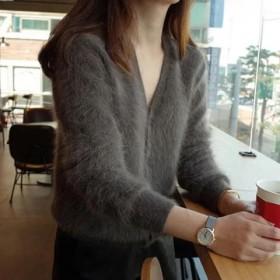 长毛貂绒仿水貂绒针织开衫秋冬外套女新款加厚韩版V领