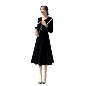 2021年春秋新款女装大翻领收腰黑色连衣裙女