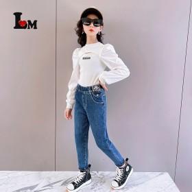 童装女童加厚一体绒牛仔裤2021冬季新款中大童加绒