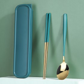 韩式筷子勺子套装一人食高颜值可爱学生便携餐具三件套
