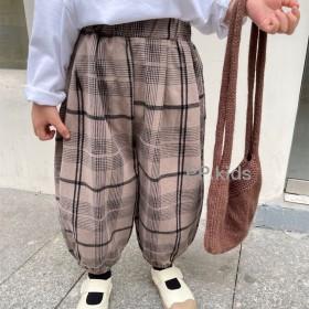 男童秋装韩版长裤宝宝休闲格子收口阔腿哈伦裤灯笼裤子