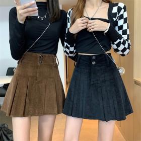2021秋冬新款高腰显瘦灯芯绒半身裙