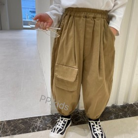 男童口袋工装裤秋装长裤韩版宝宝休闲时髦收口灯笼裤子