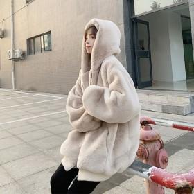 韩版宽松毛绒绒外套女仿獭兔毛仿皮草中长款连帽大衣