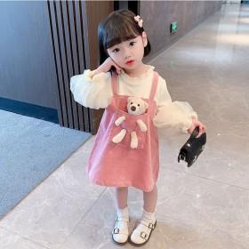 秋款公主裙女童秋装连衣裙洋气假2件3周岁宝宝童装