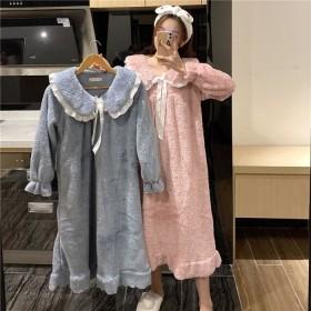 睡裙女冬季珊瑚绒长款法兰绒睡衣家居服