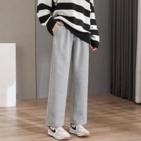 新款宽加绒运动裤女松深灰色保暖薄绒加厚直筒裤子