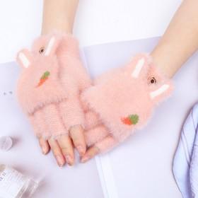 手套女秋冬韩版加厚保暖翻盖半指可爱兔耳朵萝卜图案学